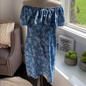 Numph   Off the Shoulder Denim Dress